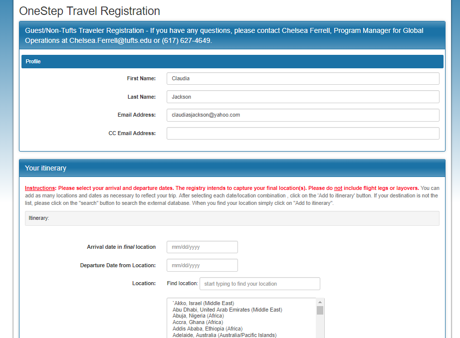 Start Travel Registration